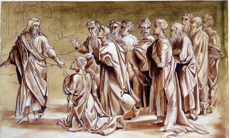 Jesus handing over the keys to St. Peter
