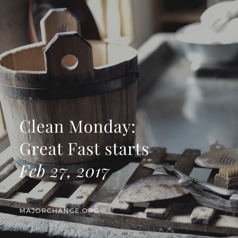 Great Fast starts. No food from midnight to noon. From now on one meal is permitted each day, Monday to Friday. All the time we drink water.  Wine and oil are allowed on Sat and Sun.