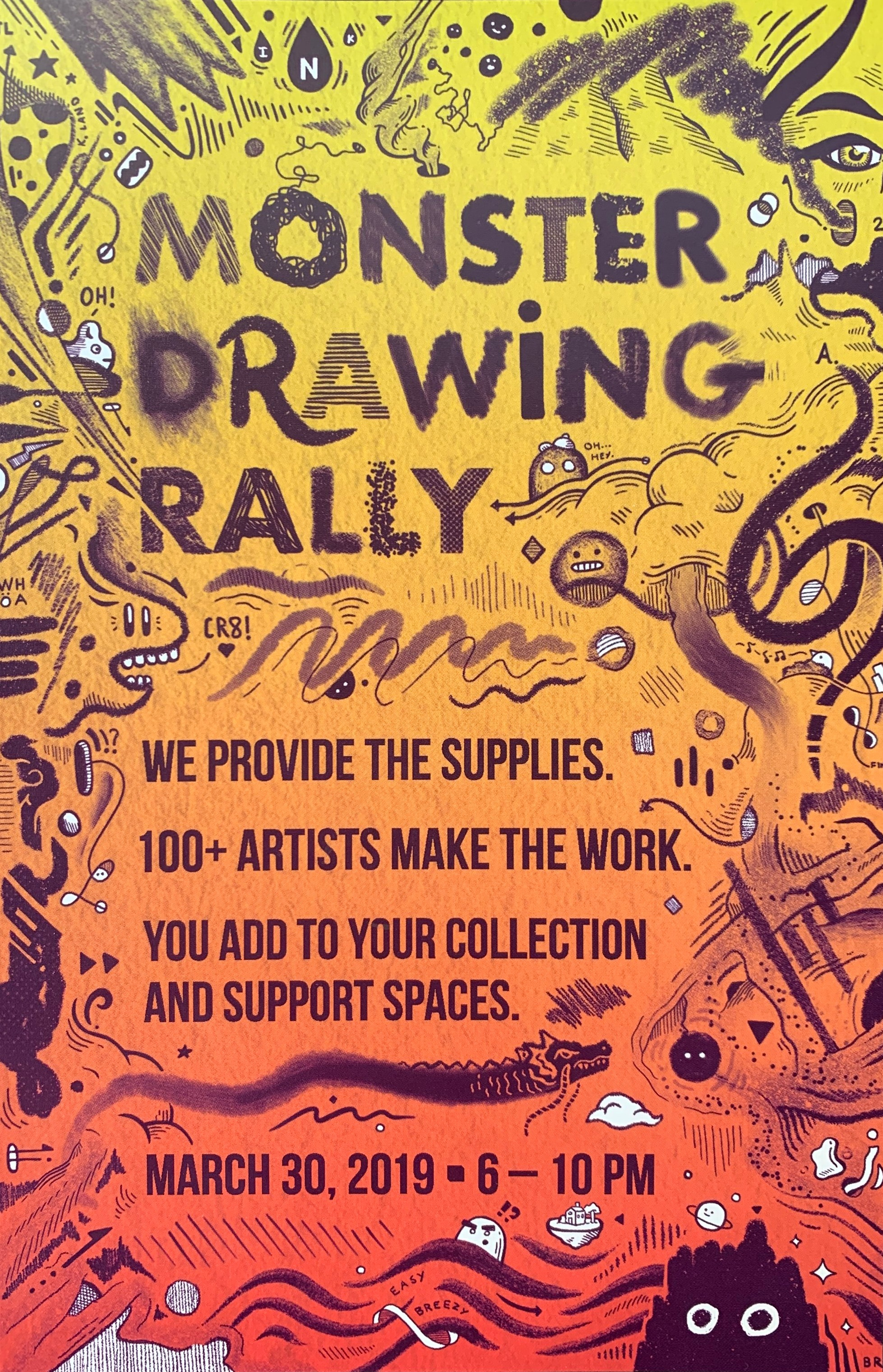 Monster Drawing Rally 2019   Saturday March 30 (6 – 10 PM) **I'll be drawing from 8-9PM **   SPACES  2900 Detroit Avenue, Cleveland, Ohio  INFO:  https://www.facebook.com/events/2222999227948784/
