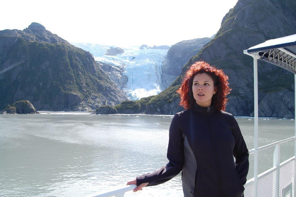 "ALASKA -  I look very confused in the Kenai Fjords in Alaska.  The glacier behind me is appropriately named ""Surprise Glacier""."