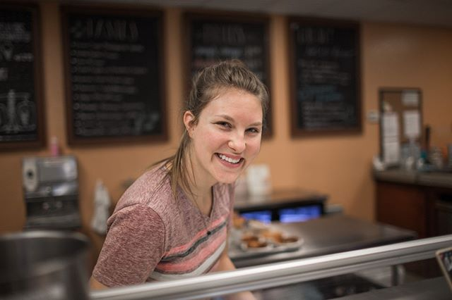 Introducing another one of our fantastic pro-scoopers here at Taste and See, @angeliquereimer! Originally from Texas, Angelique has been with us here since May and she's one of the happy faces you'll see behind the counter.  Favorite flavor?  Lemon Speculoos Cookie!  Stop by the shop this week and say hello!