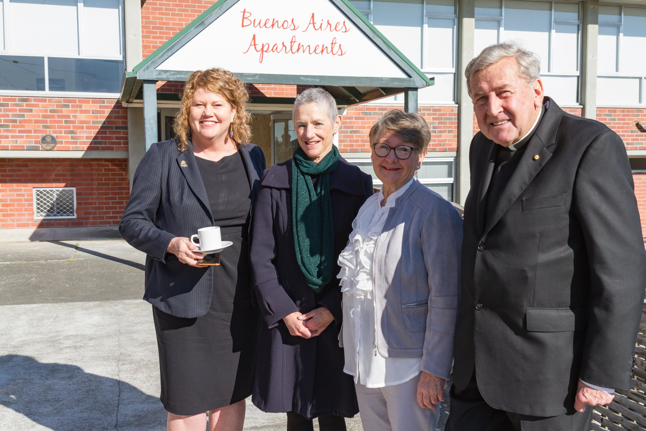 Lord Mayor Councillor Anna Reynolds, Her Excellency Kate Warner Governor of Tasmania, apartment resident Mrs Kay Dolman and South Hobart Parish Priest Fr Michael Tate. Photo Credit: Mark Franklin