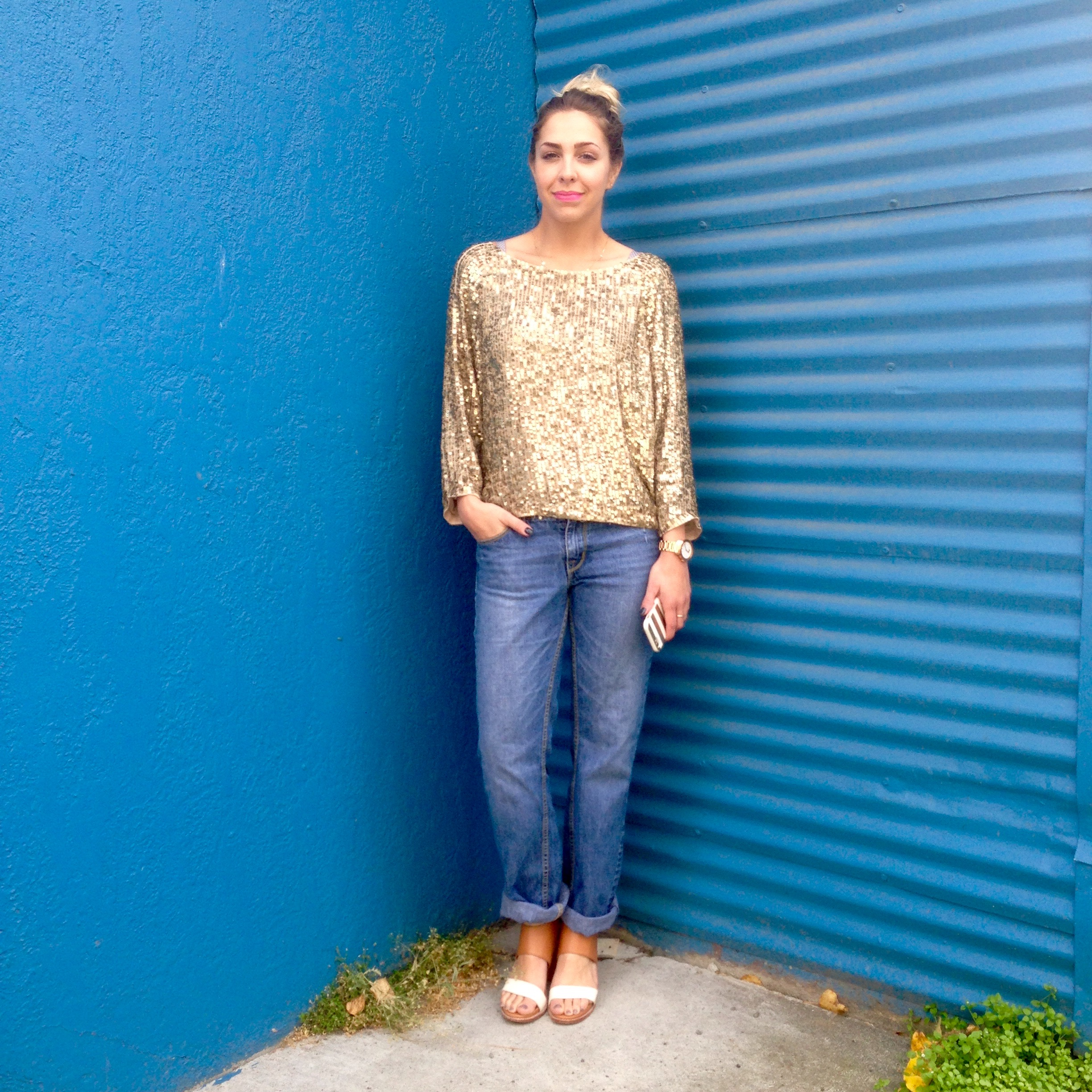 Look Three:  Vince Camuto shirt | Paris Blues circa 2007 jeans | Dolce Vita shoes