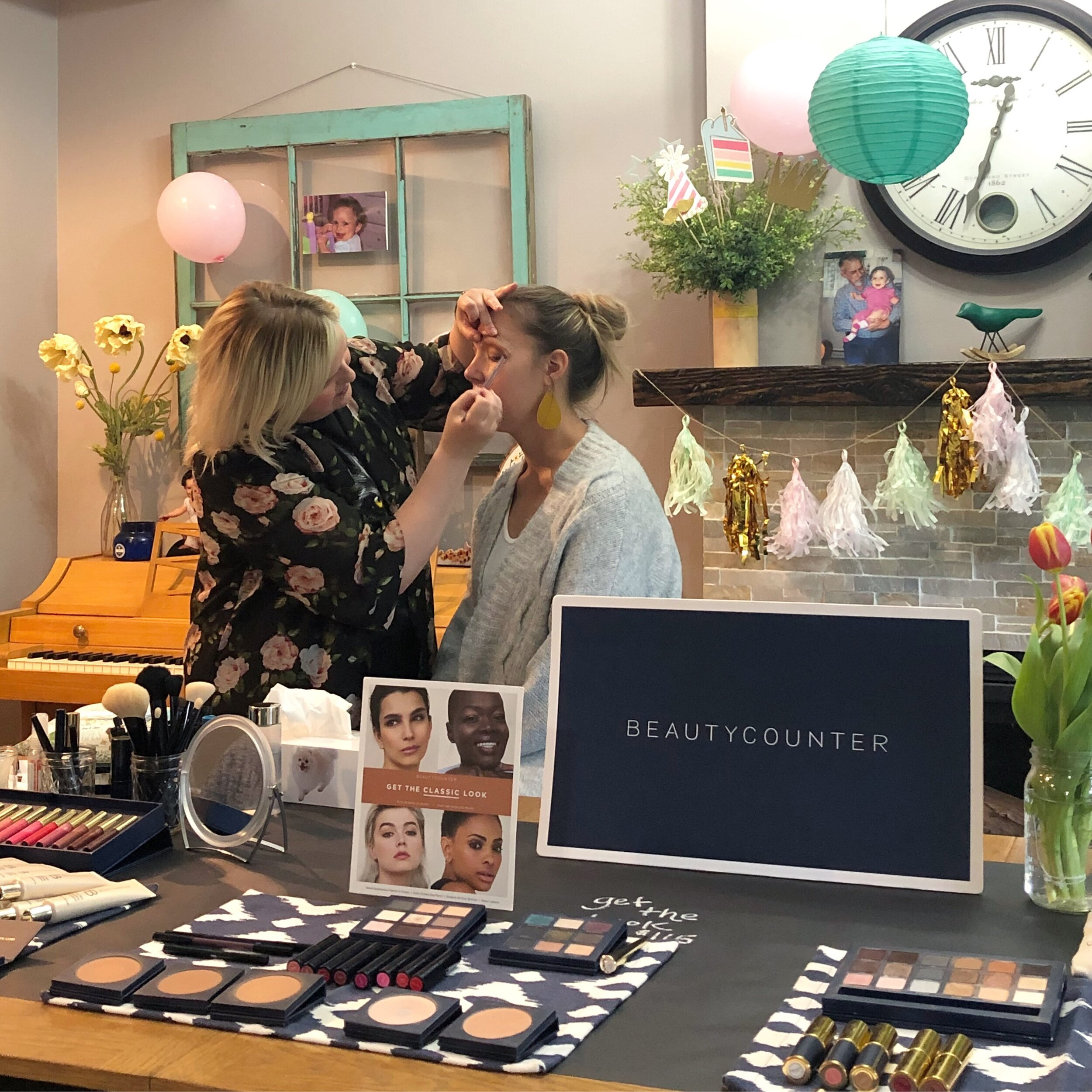 Teaching a beautycounter makeup master class