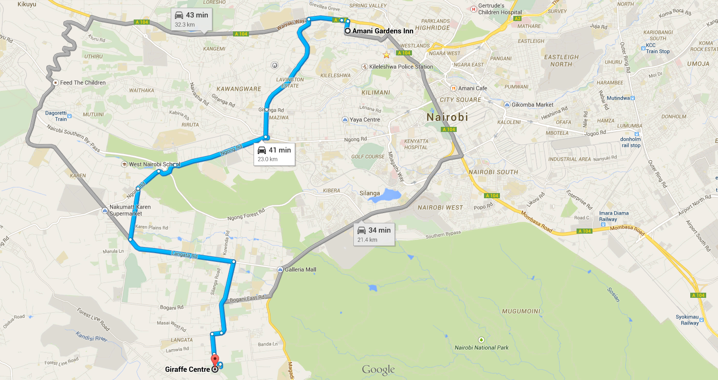Map to the Giraffe Centre from Amani Gardens