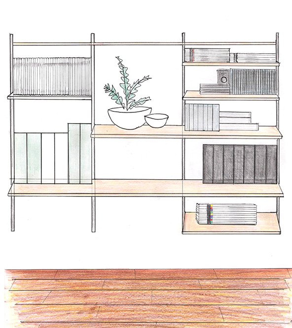 Home office wall fix shelving sketch