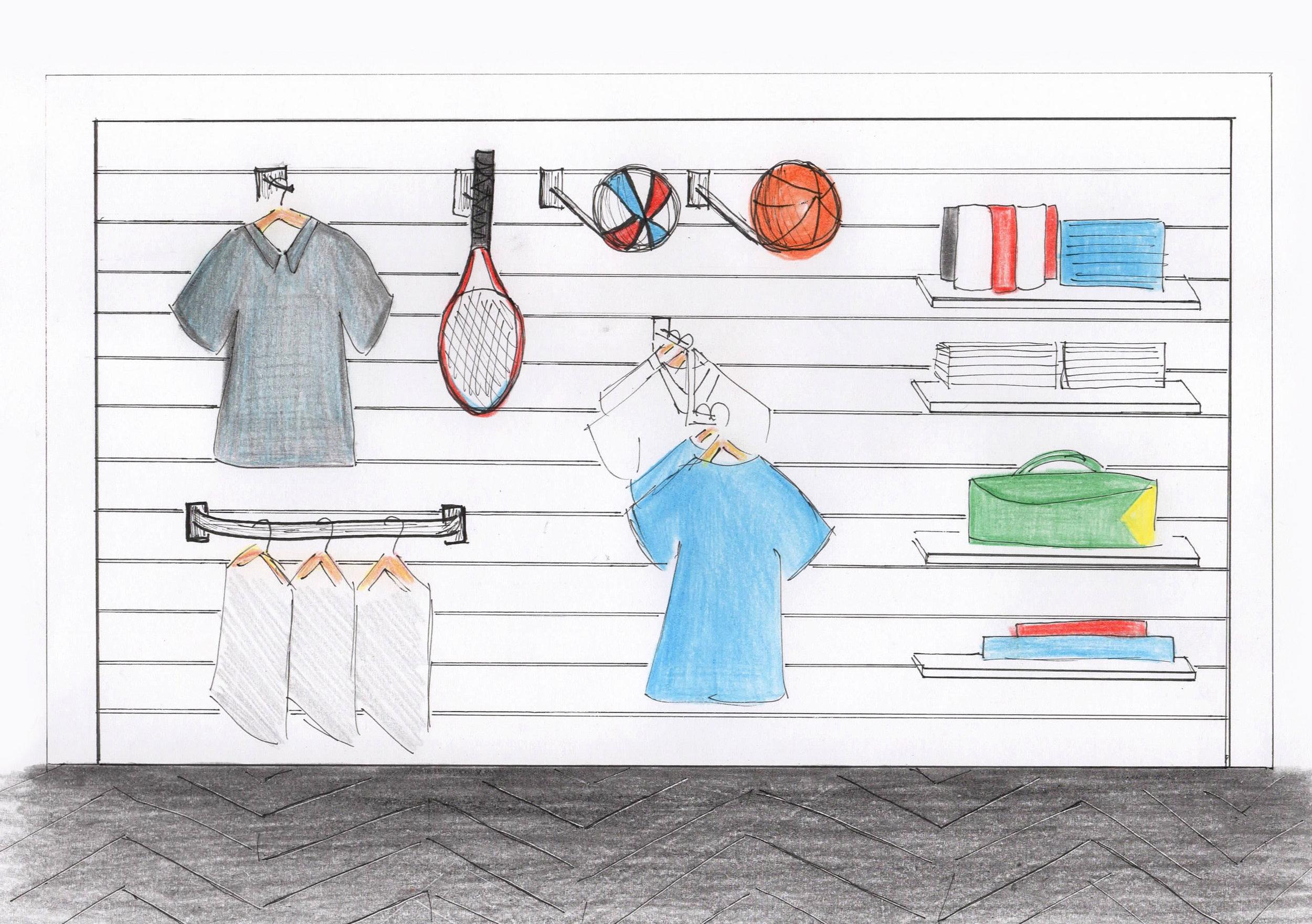 Sports shop Slatwall sketch