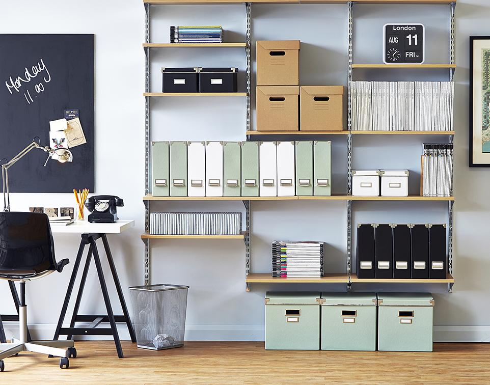 Home office wall fix shelving set