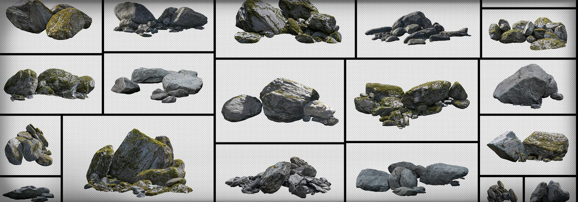 Masked Rocks Mossy Stones PNG Cutout