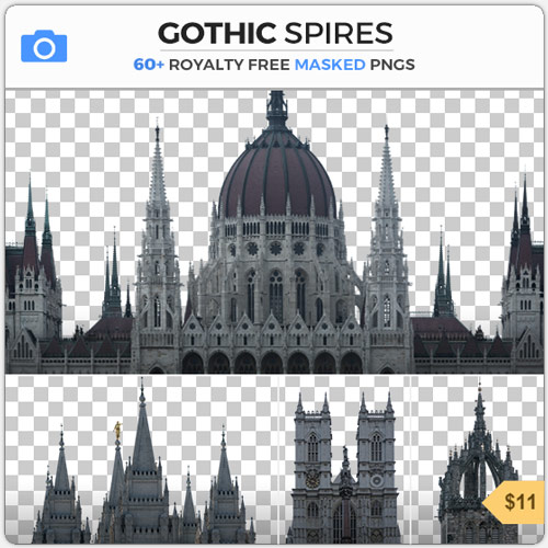 Gothic Spires Masked PNG Background Medieval Roofs