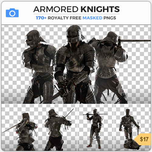 Armored Knights Armor PNG Cutout Warrior Fighting Medieval