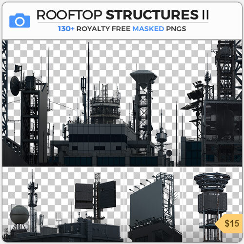 Rooftop Structures PNG Masked Industrial Structures Antenna Satellite Billboard Power Pole Cutout