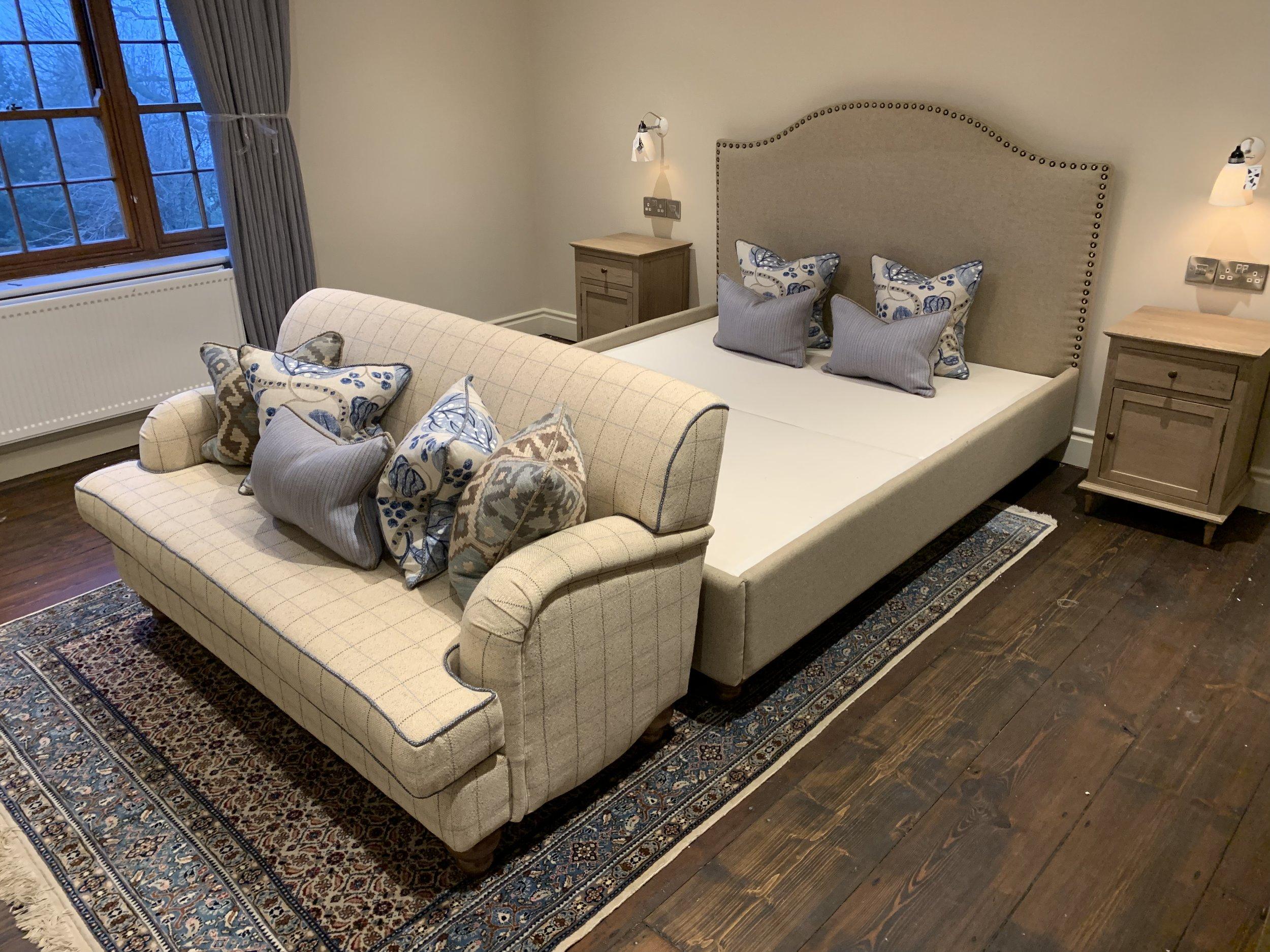 Bespoke bed and headboard