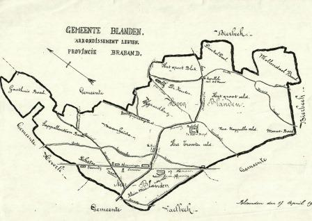 Kaartje grondgebied Blanden 1901. GHKOH
