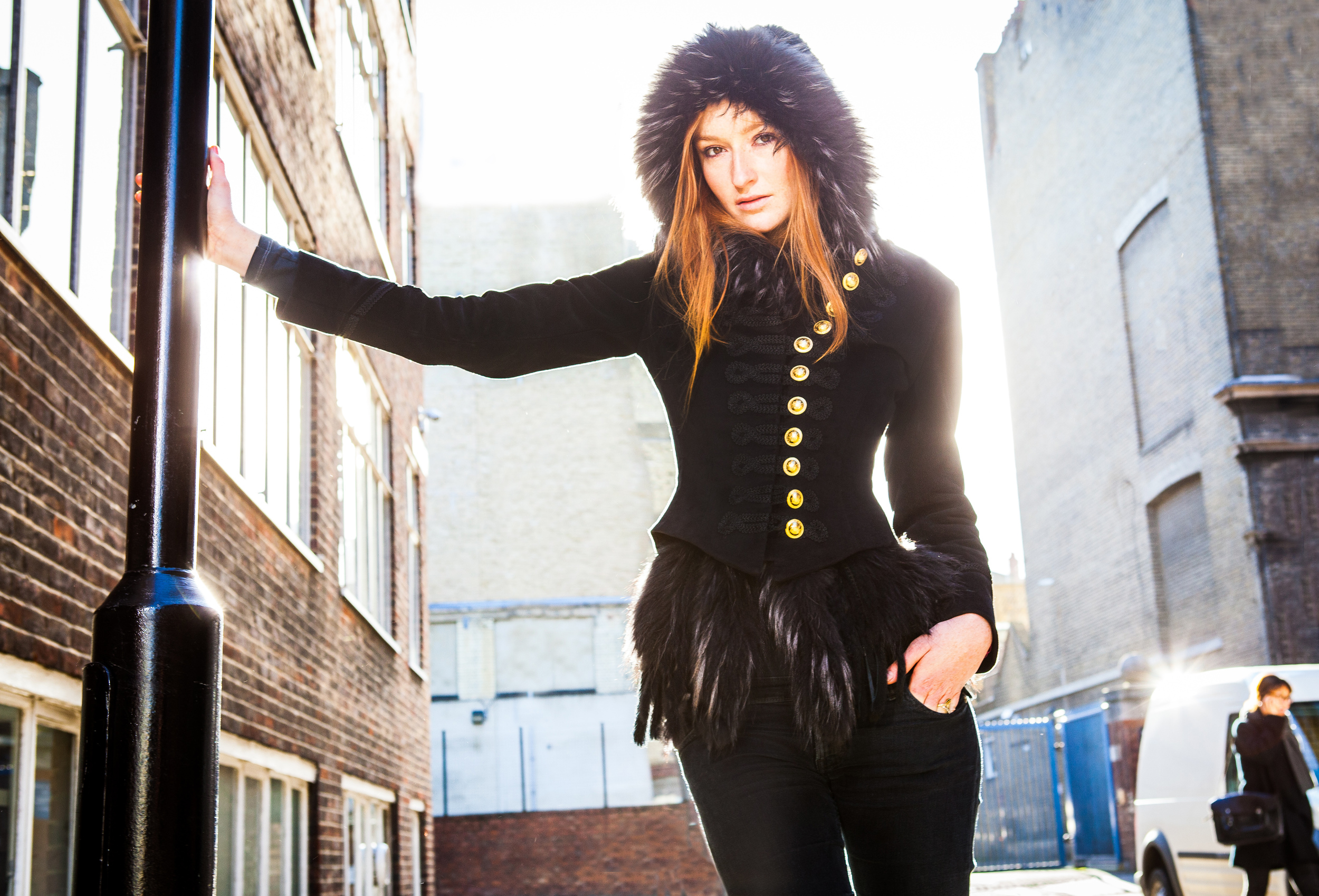 Alex black jacket fur trim campaign pic.jpeg