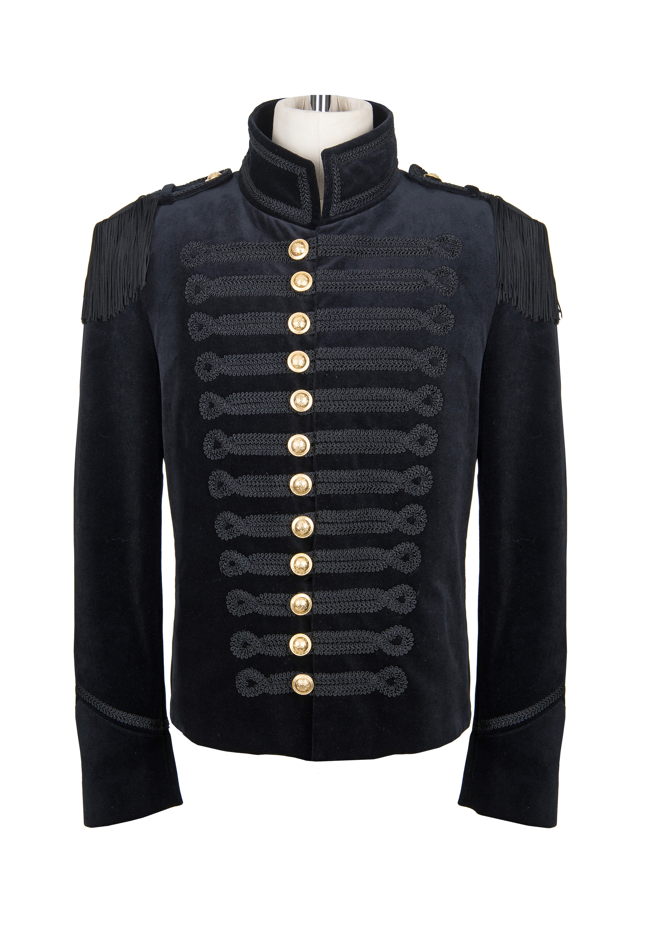 Black velvet mans jacket gold buttons.jpg