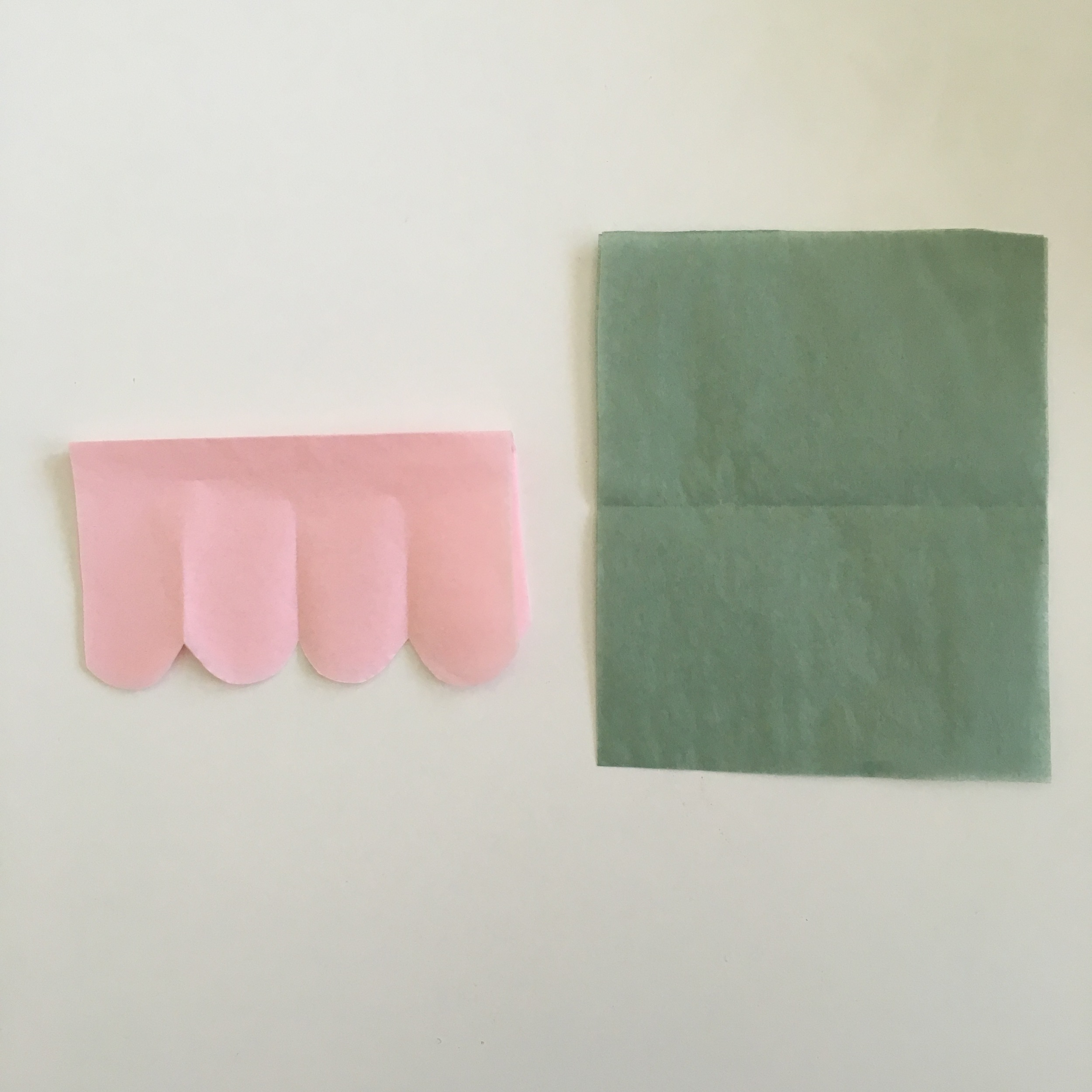1. Cut the green tissue paper the same width as your paper flower (it's okay if it's a tad smaller too).