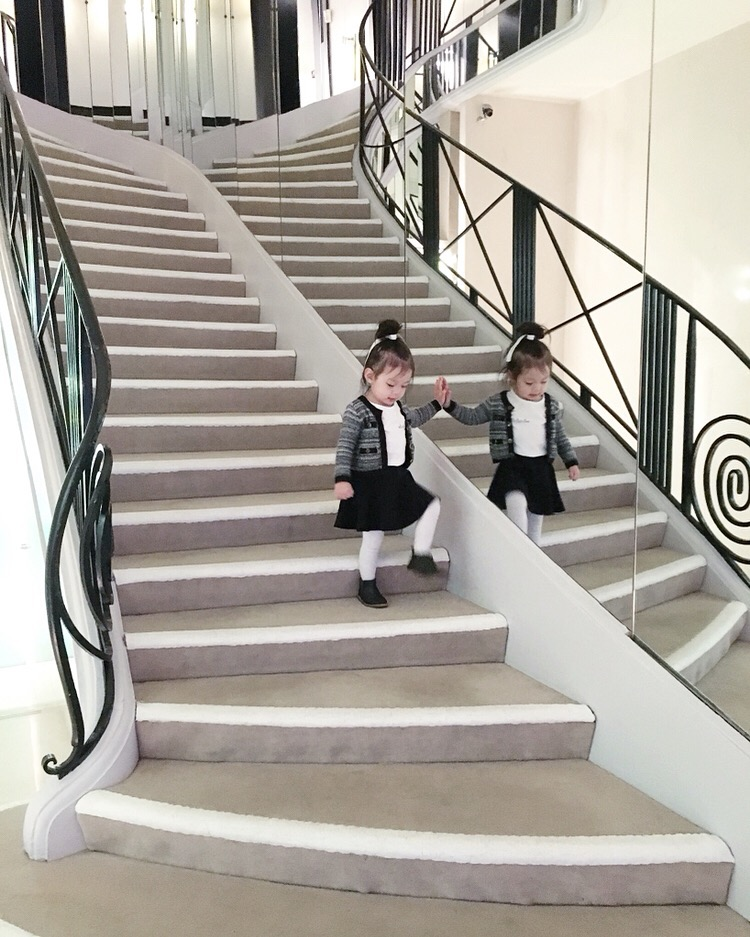 Had to stop in the flagship Chanel at 31 Rue Cambon! Everyone absolutely adored Olivia there and she got to walk up and down the famous stairway.