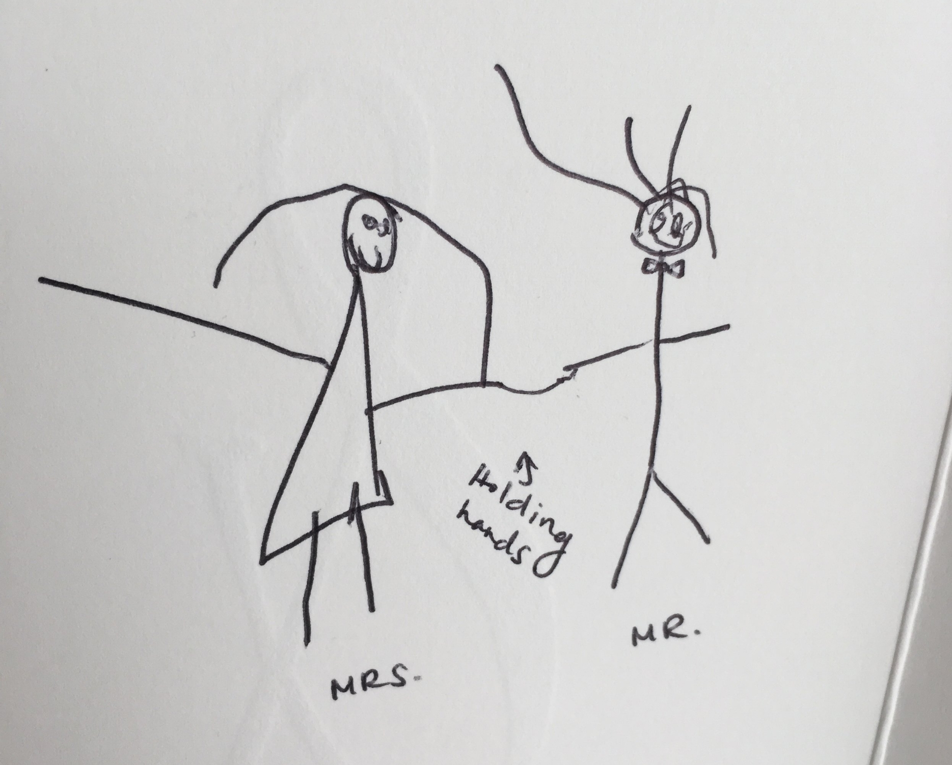 Olivia's art in the wedding card. She intentionally linked their hands.