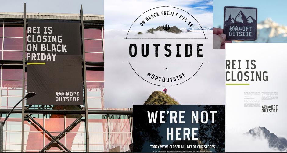 Custom brand typeface / REI #OPTOUTSIDE Black Friday campaign