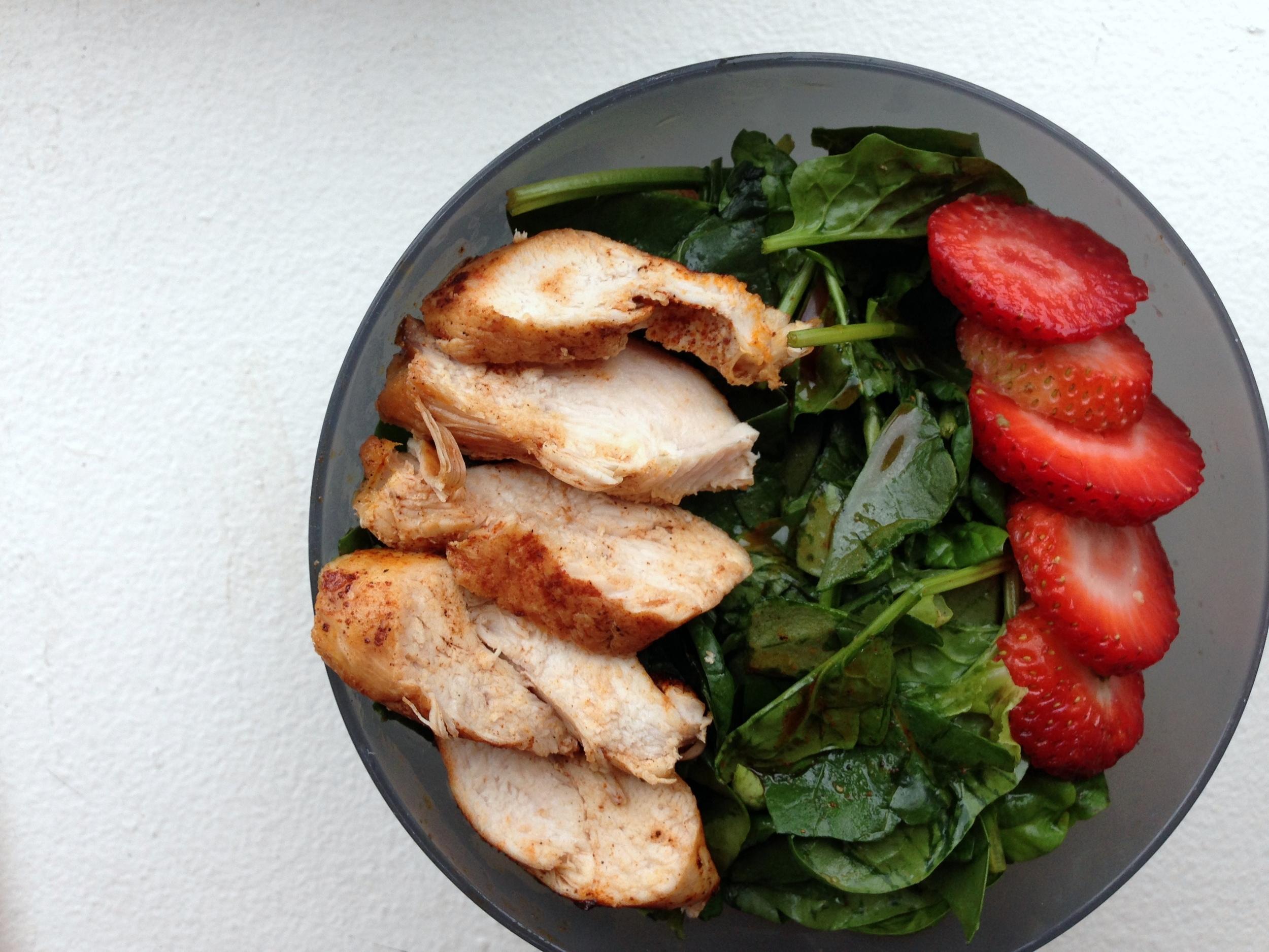 spring chicken & strawberry spinach salad