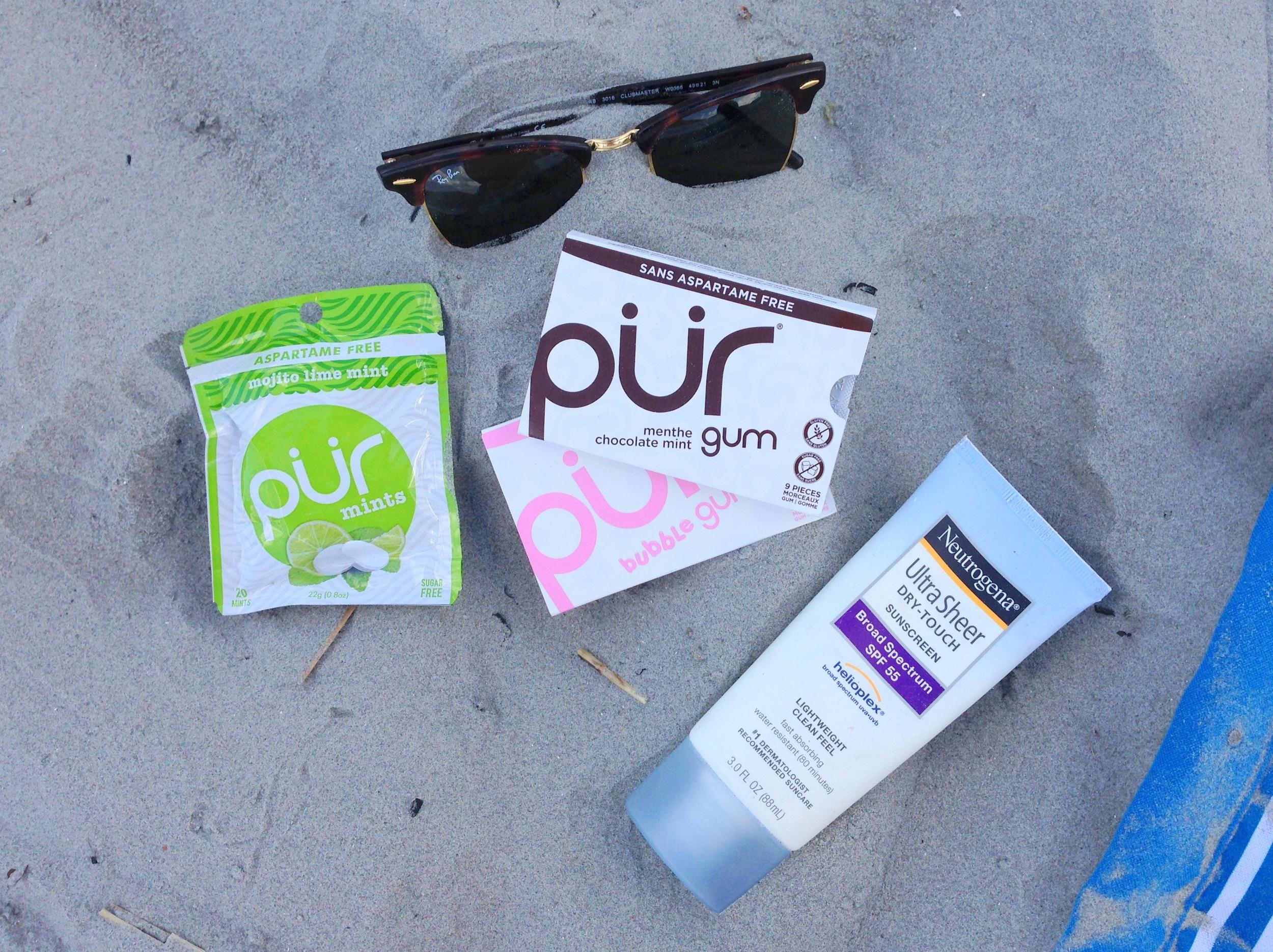 pur gum at the beach