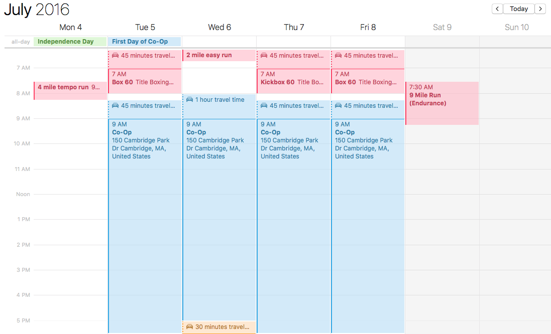 What my first week of co-op's schedule looked like.