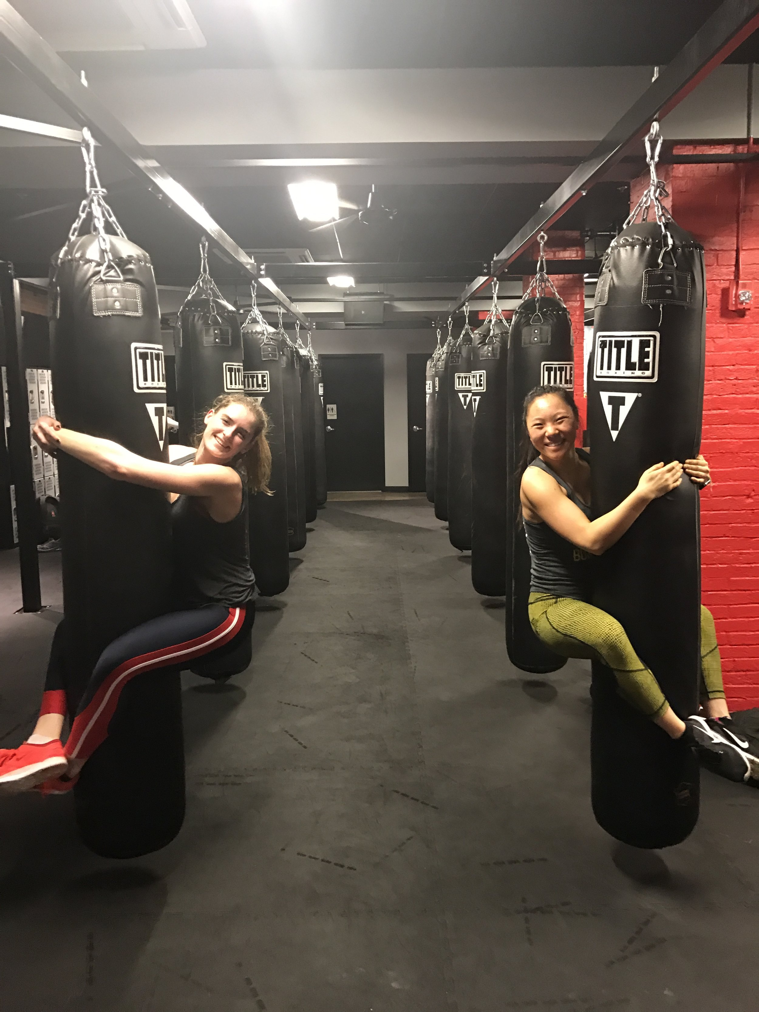boxing on the bags