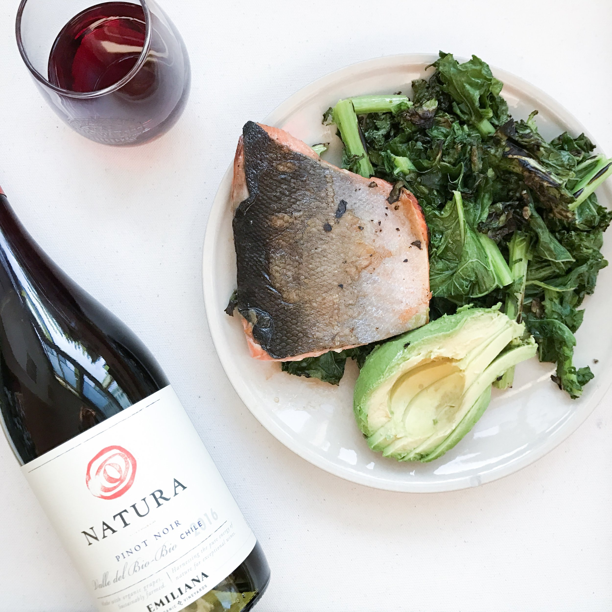 salmon dinner + wine
