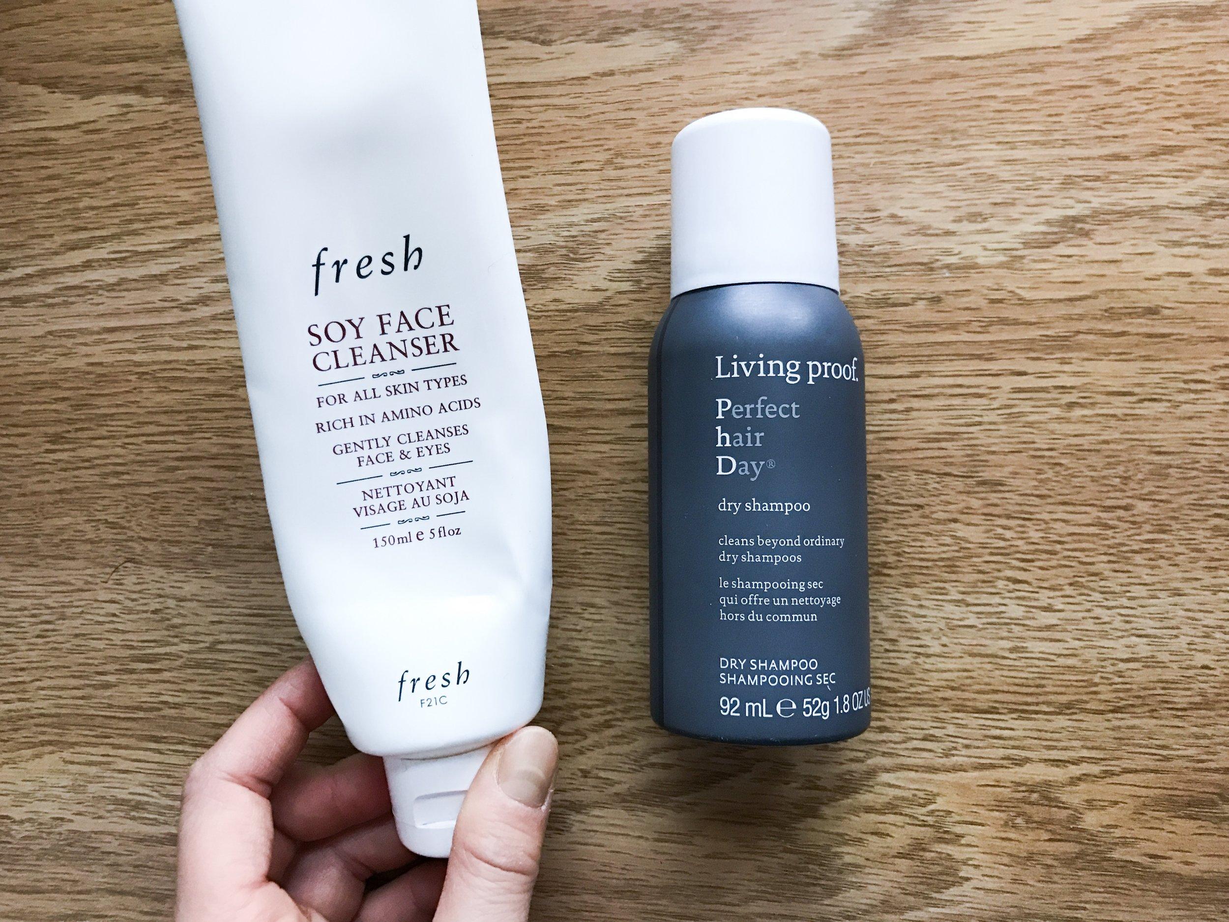 fresh facewash + living proof dry shampoo