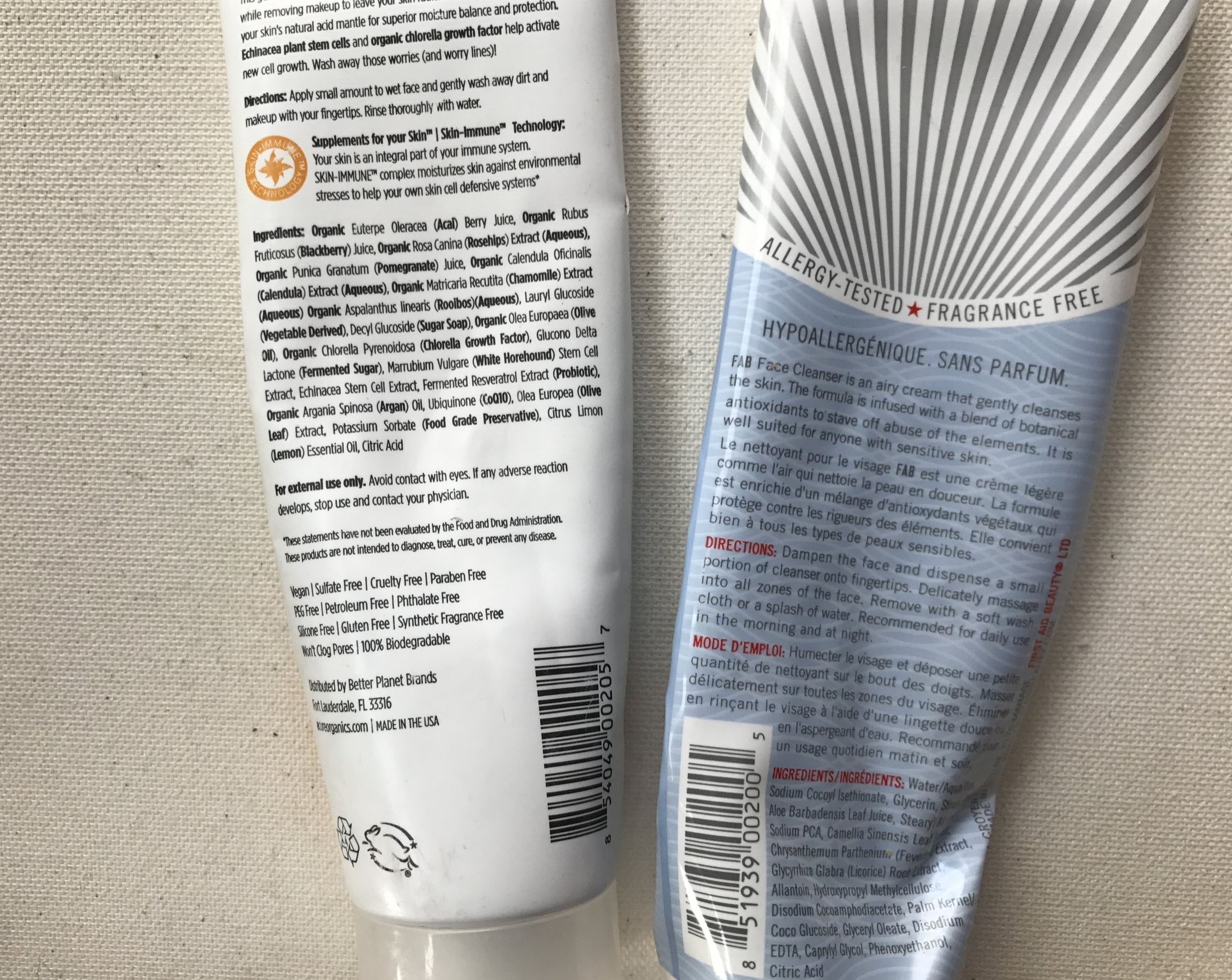 Acure cleanser + First Aid Beauty Cleanser