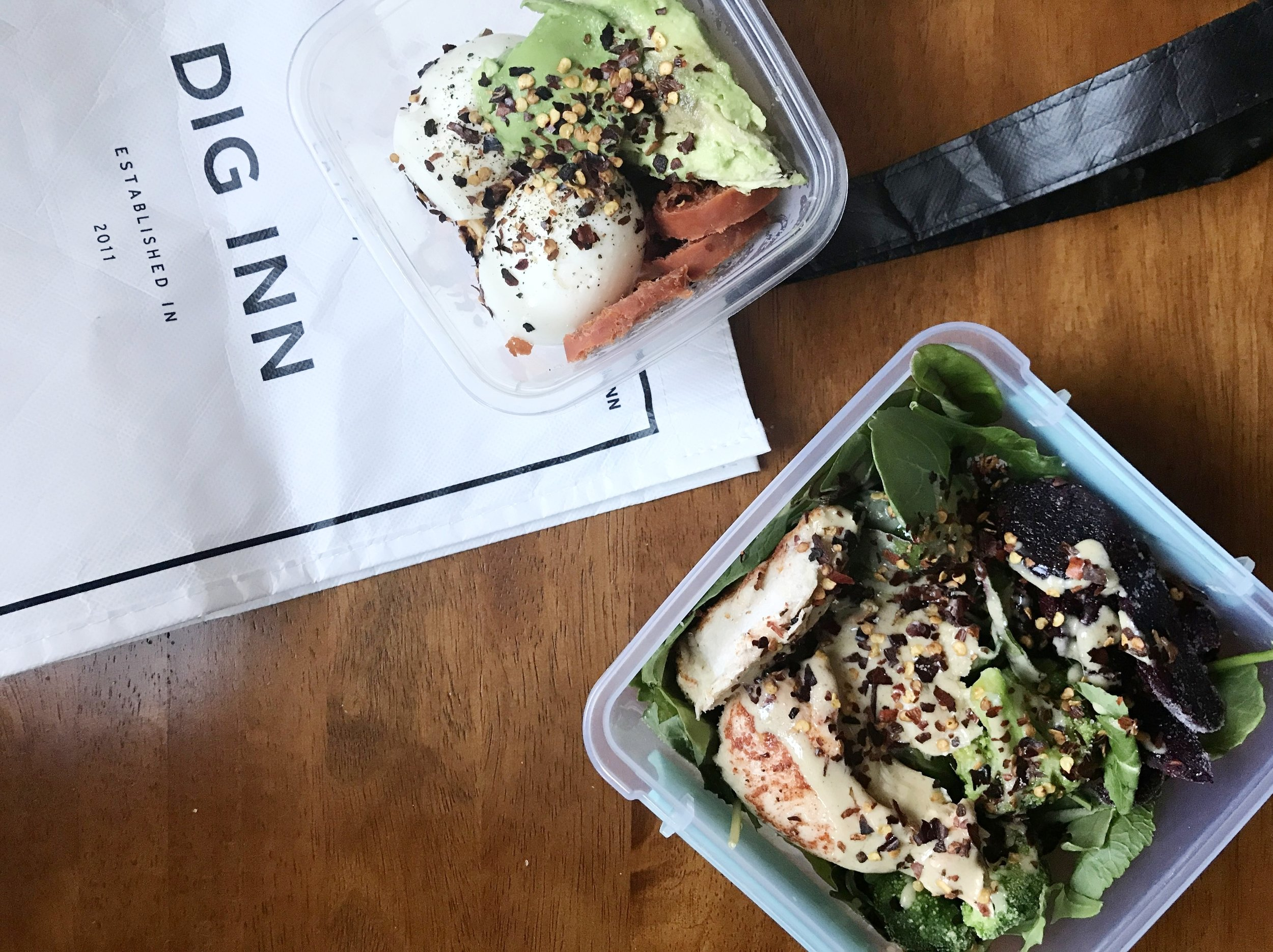 Salad with Roasted Chicken and Lemon Tahini Dressing