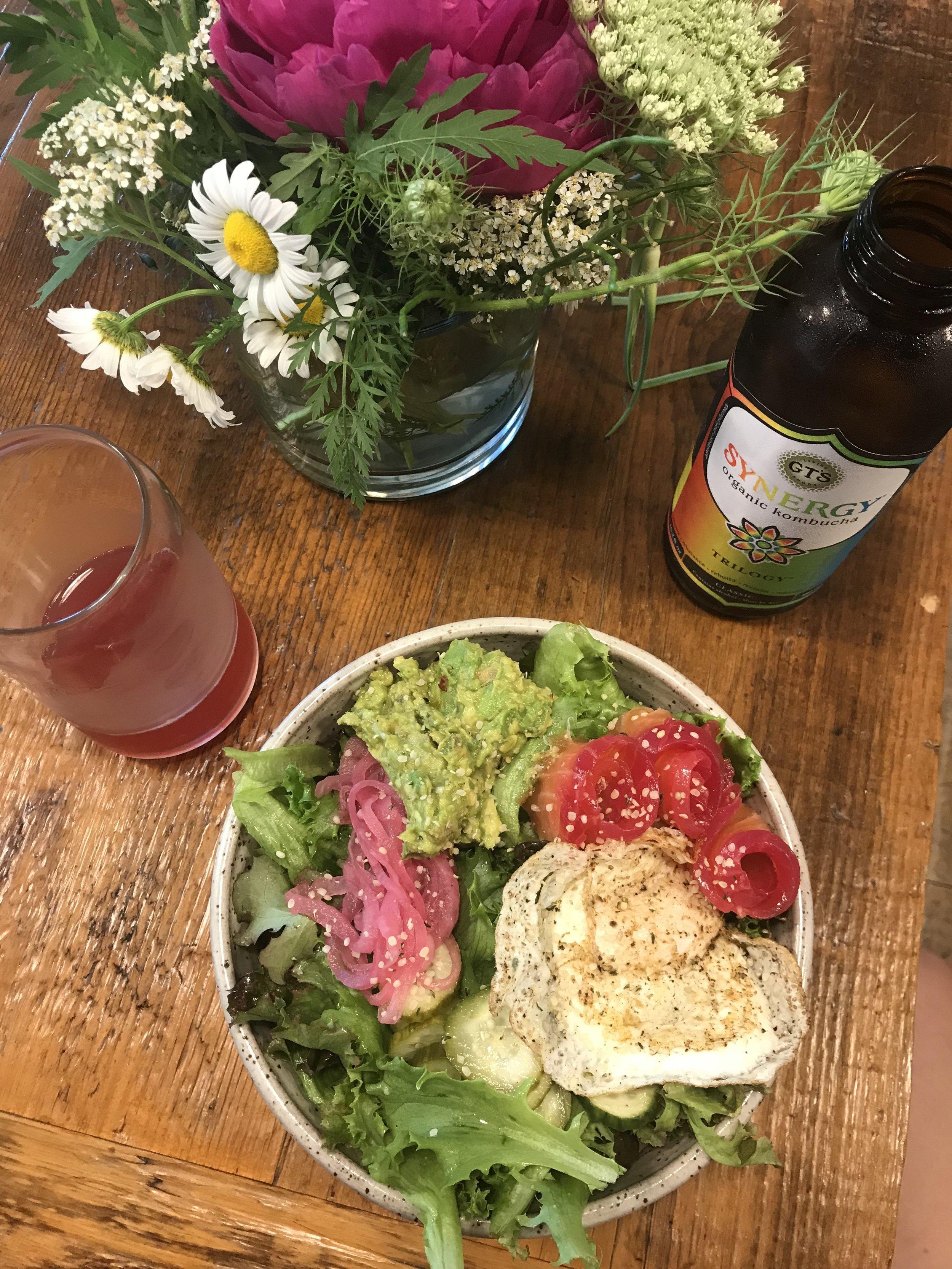 LB Kitchen - Breakfast Bowl and GT's Kombucha