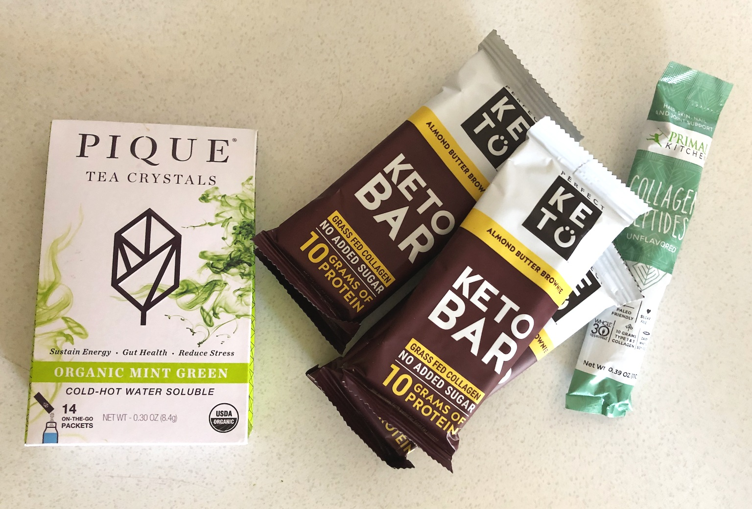 Keto Bars from Perfect Keto, Collagen, Organic Tea from Pique Tea