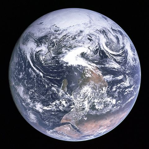 The Blue Marble - the right way round (Source: By The original uploader was Latitude0116 at English Wikipedia (original upload date: 2006-08-01) [Public domain], via Wikimedia Commons)