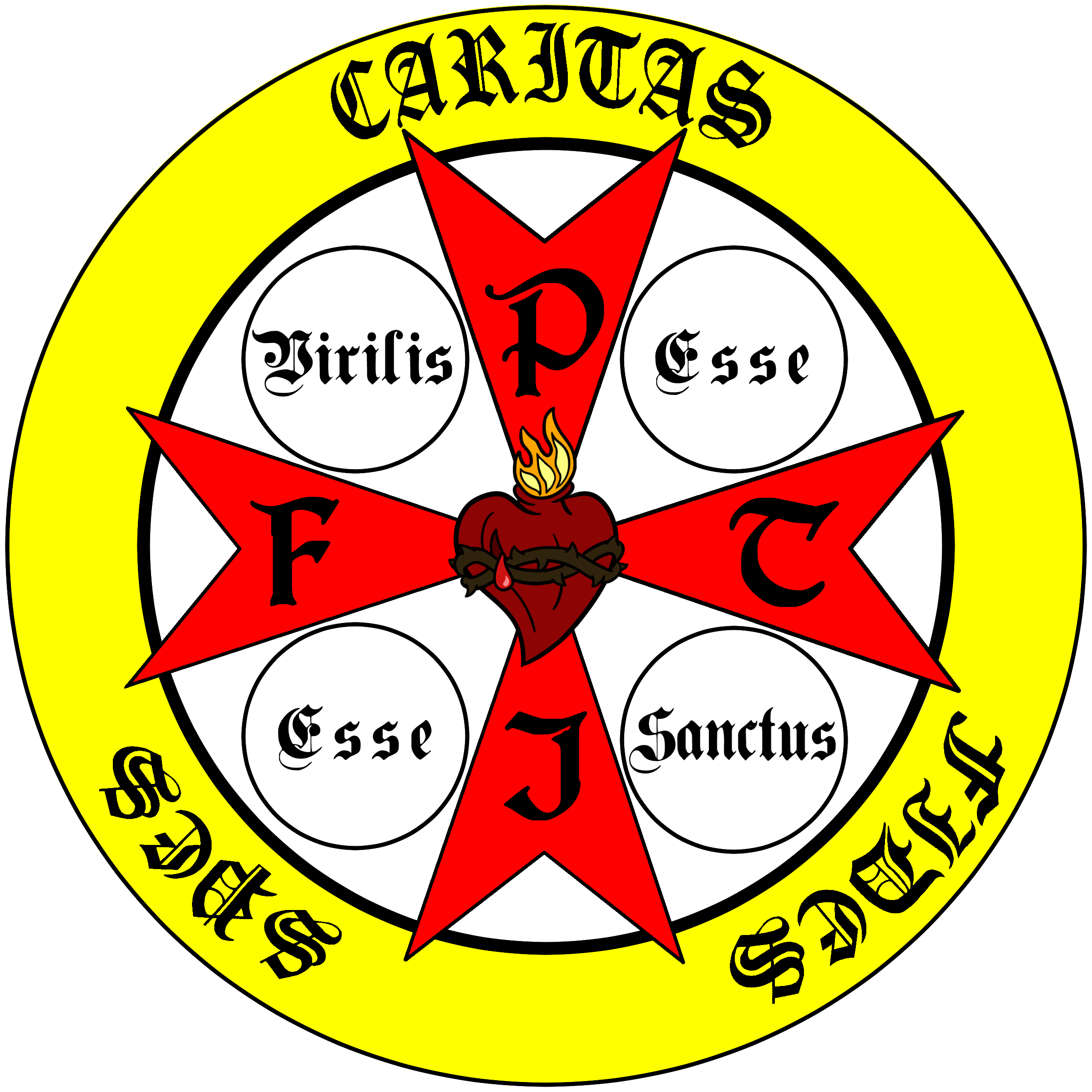 "The Official Camp Greatness Logo  (an explanation): In the center of the logo and placed over a red Crusader's Cross is the pierced Sacred Heart of Jesus. On each arm of the Crusader's Cross are the letters (clockwise): P, T, I, F. These letters represent the Four Cardinal Virtues (in Latin: Prudentia, Temperantia, Iustitia, Fortitudo) and when practiced, like the Cardinal Directions, point us to a place: the Sacred Heart of Jesus. These virtues can be attained through human merit (as in, they do not require grace to be practiced), therefore they are placed in red (symbolizing humanity) and reside within but seem to proceed from the yellow circle around the outside of the logo, teaching us that although these virtues do not require grace, they are strengthened by a life of grace. Around the aforementioned symbols is a yellow circle (symbolizing heaven) with the Three Theological Virtues in Latin: Faith, Hope, and Charity. These virtues can only be obtained through a life of grace. Finally, within this logo is the phrase: ""Virilis esse, esse sanctus."" Which translates: ""To be manly is to be holy."""