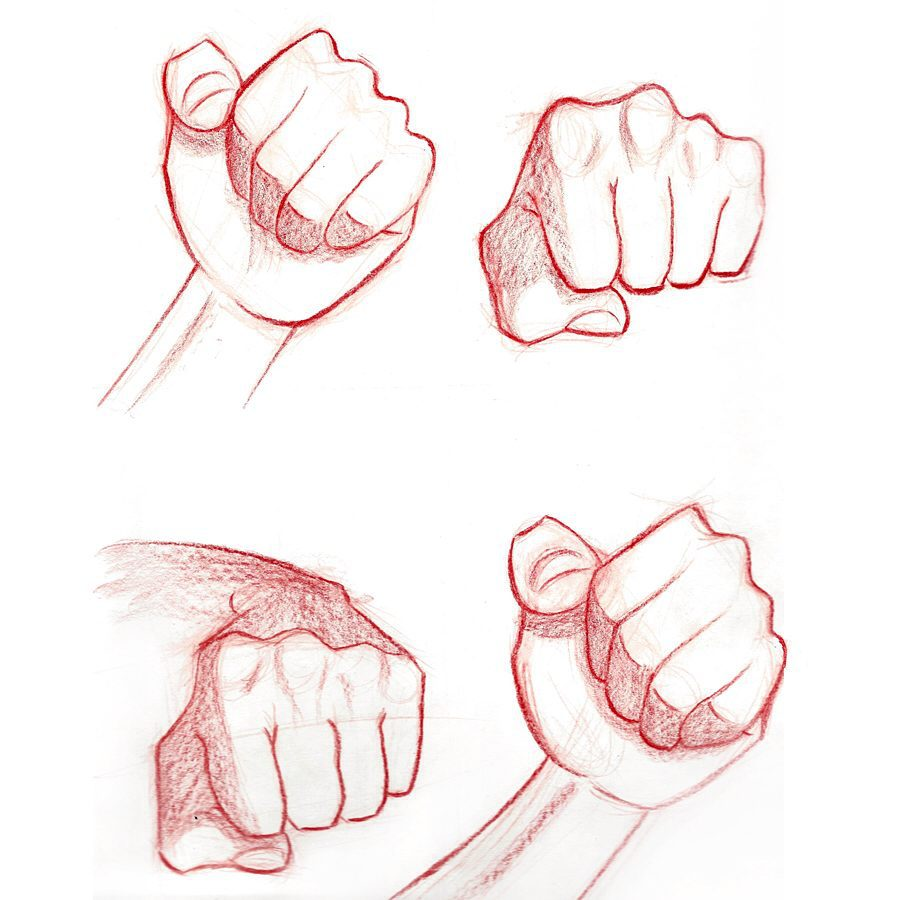 Drawing fists.