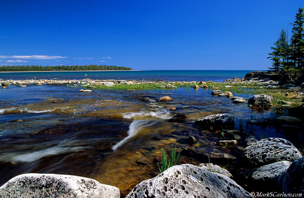 Dickensen Creek entering Lake Huron; ©markscarlson.com