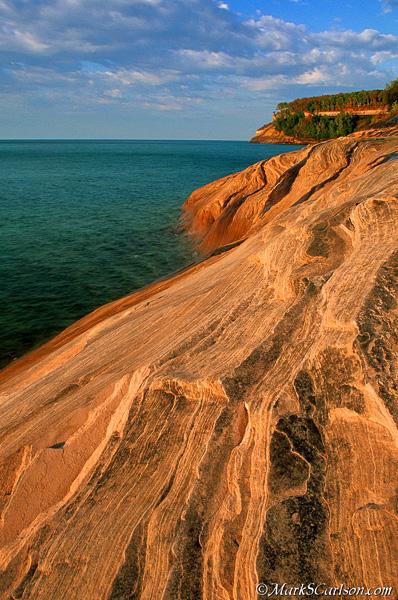 Pictured Rocks sandstone ledges; ©markscarlson.com