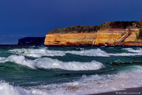 Pictured Rocks under stormy sky; ©markscarlson.comy