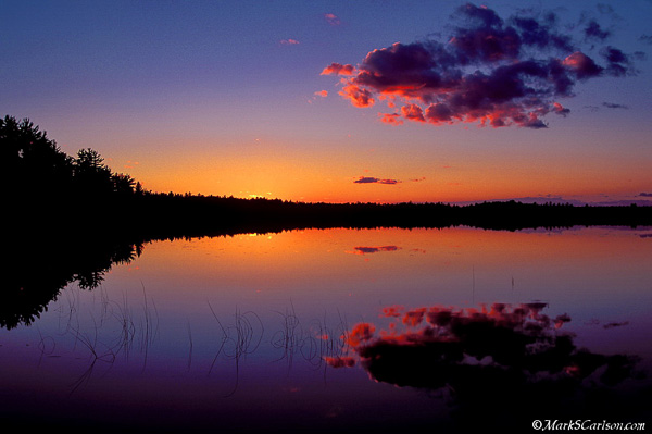 Twilight sky and reflection in Lake Stella; ©markscarlson.com