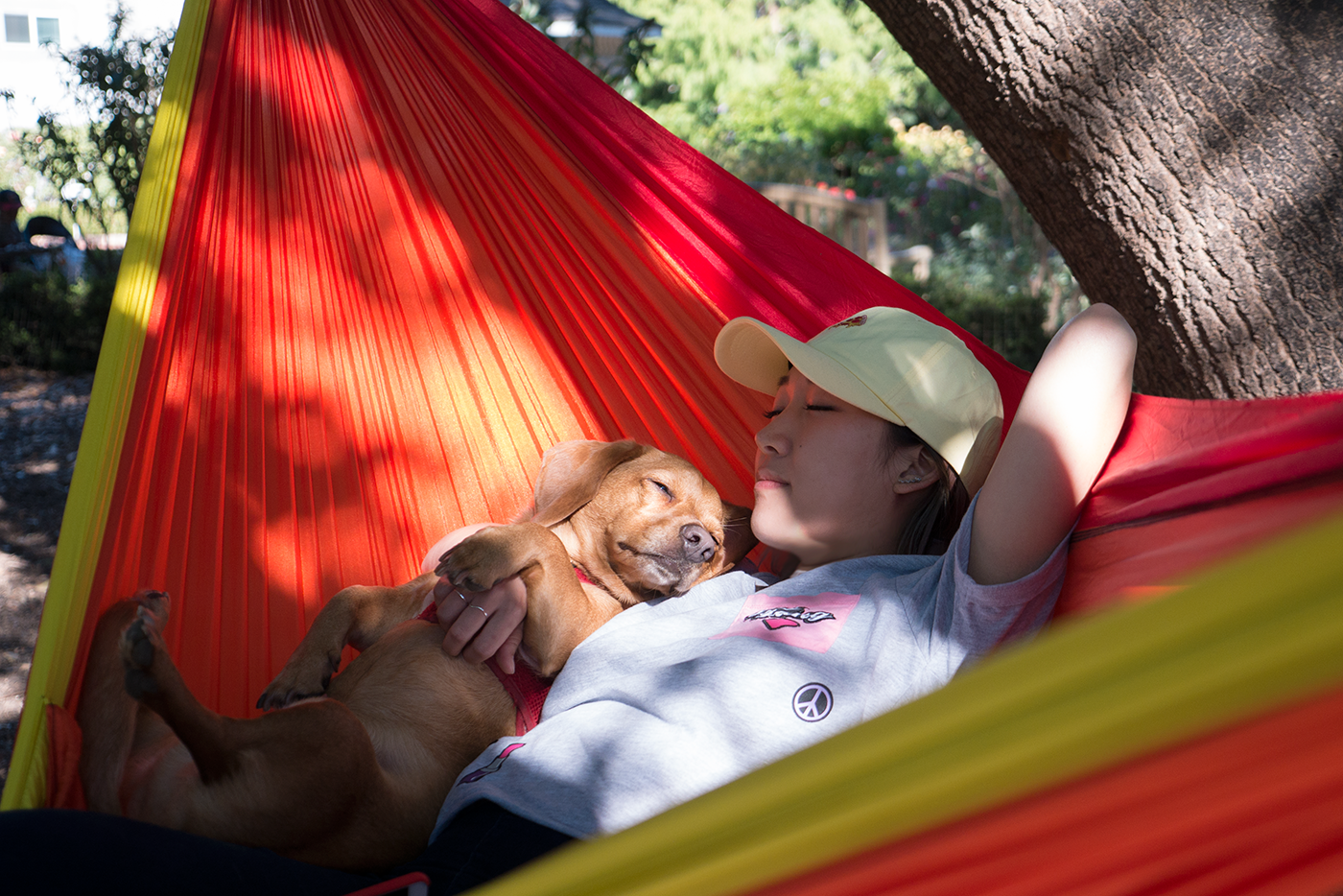 Anna Lee with Bentley, Hoang M Nguyen of HoBo on Eno Hammock Sunshine Double Nest. Using the Atlas XL Hammock strap. More info @ www.hobo.life