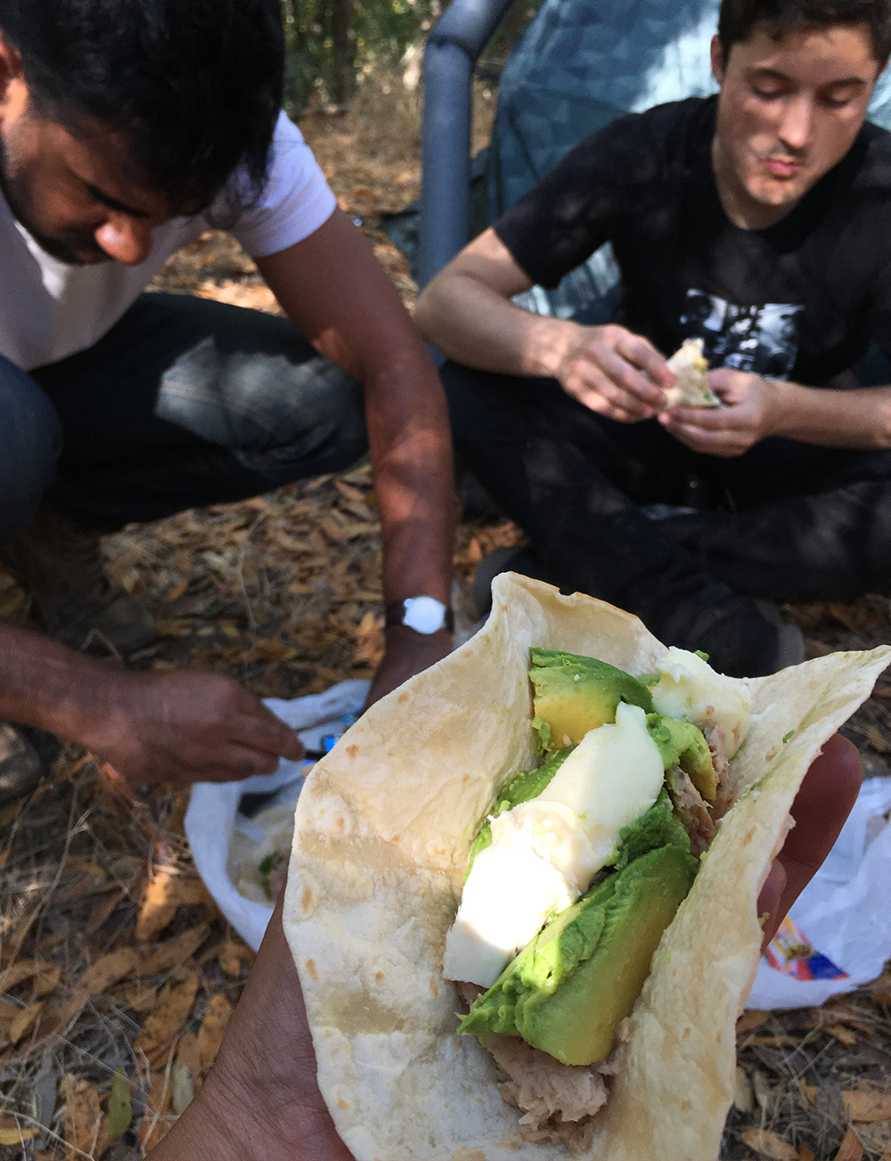 Our hobo life meal out in california back country.