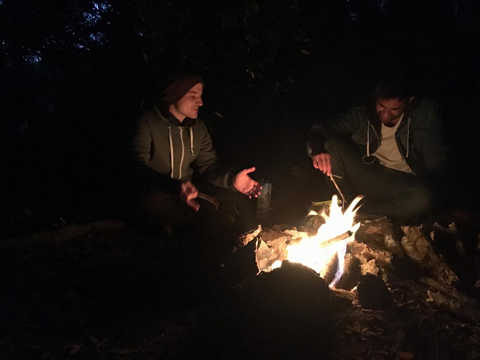 The campfire of our trip true hobos