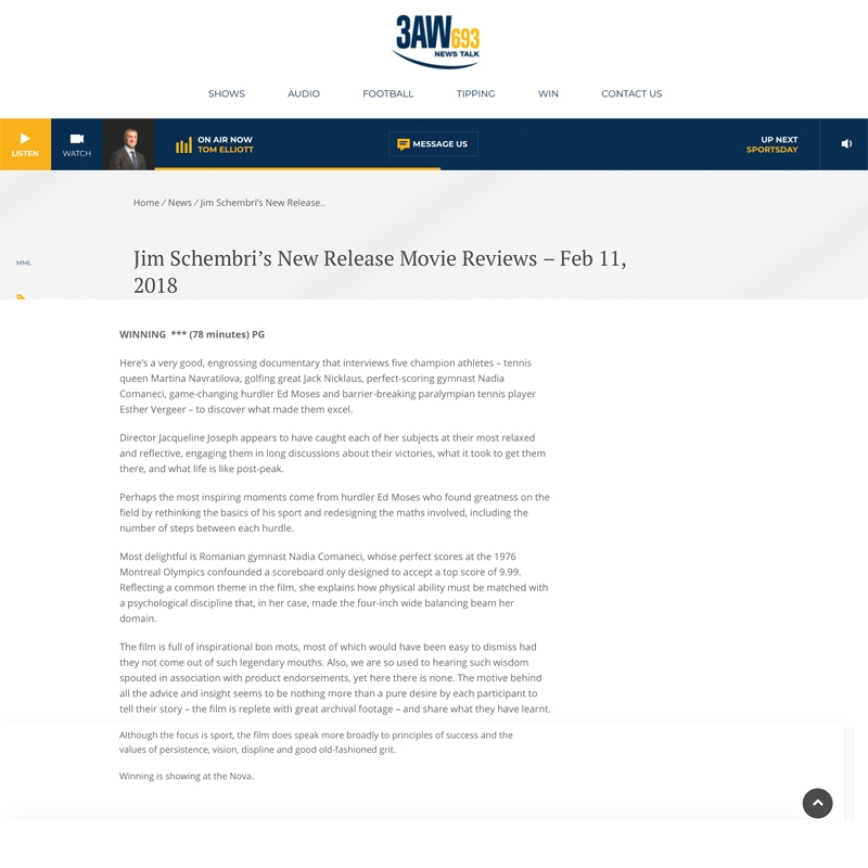 3AW Melbourne WINNING masthead and review text FEB 11 2018.jpg