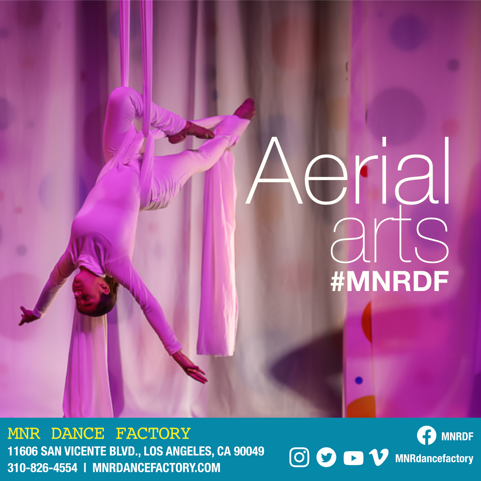 Aerial Arts - Aerial art refers to dance-like, acrobatic physical movement performed while suspended in the air. MNR DF offers training in aerial silk (also known as fabric or tissue) and aerial hoop. Our Aerial training is led by renown Cirque Du Soleil star and International Rhythmic GYMNASTIC Championship medalist, Ramon Moore and world renown aerial artist Maya Kramer.
