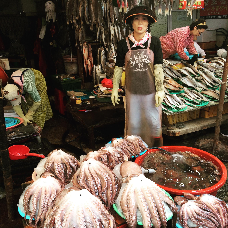 Octopus seller in Jalgachi Market, Busan  부산 자갈치시장