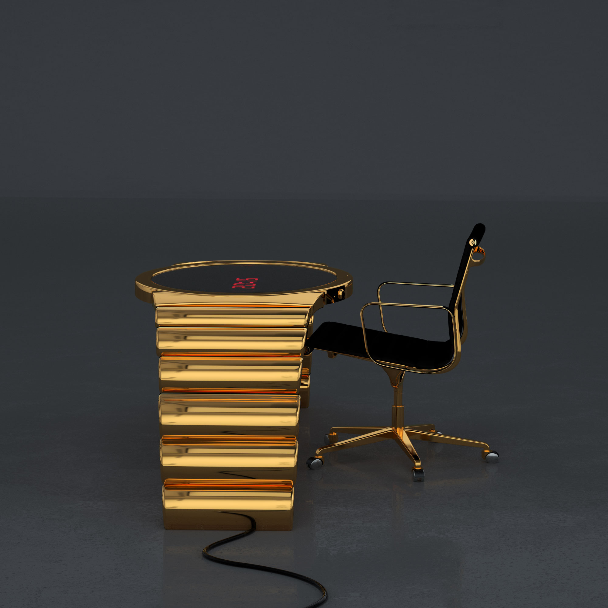 Gold watch table in 1 micron gold plating