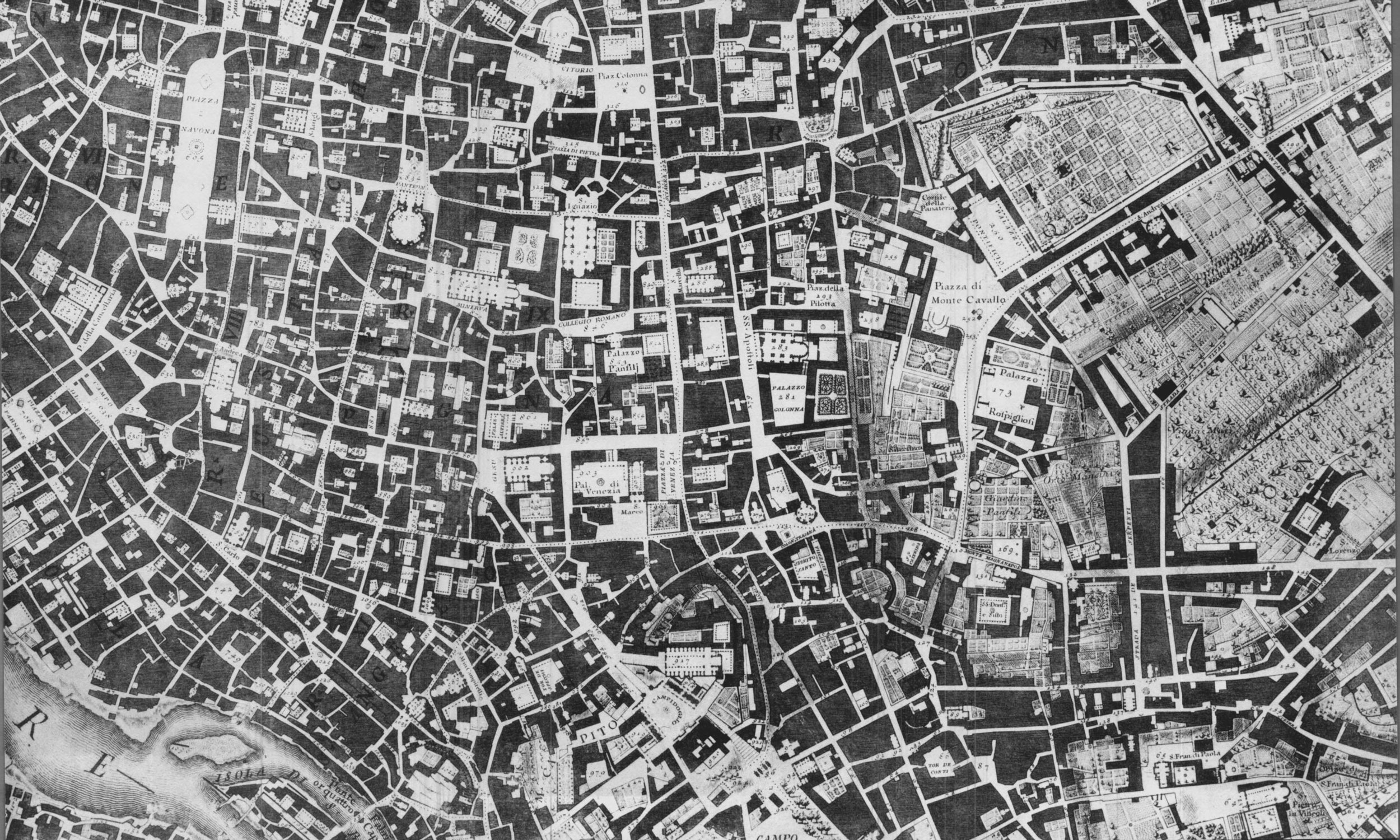Nolli map fragment - Piazza Navona and Pantheon in the top left quadrant.