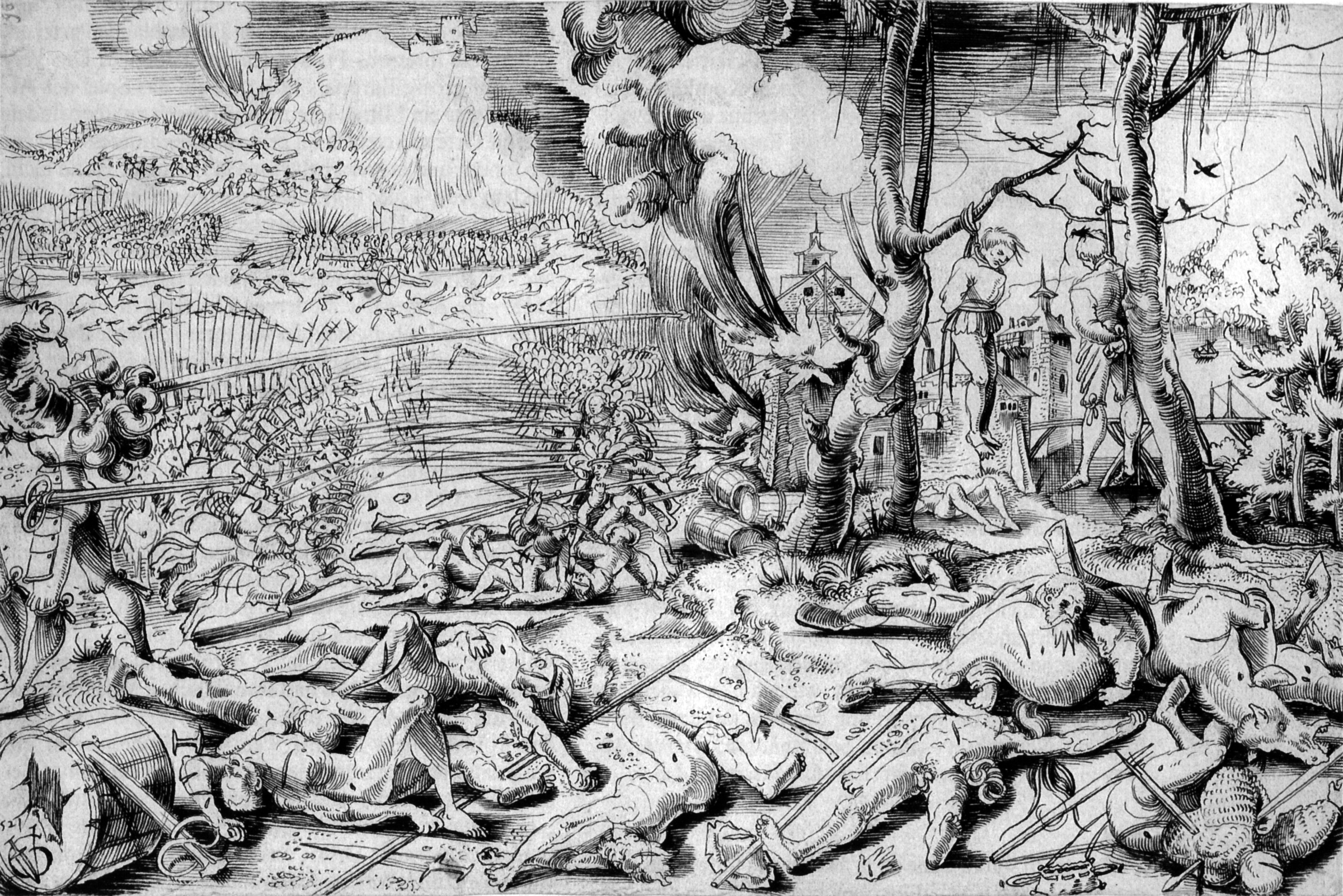 After the Battle of Marignano, drawing by Urs Graf. Almost no one remembers when or why this happened or cares about it.